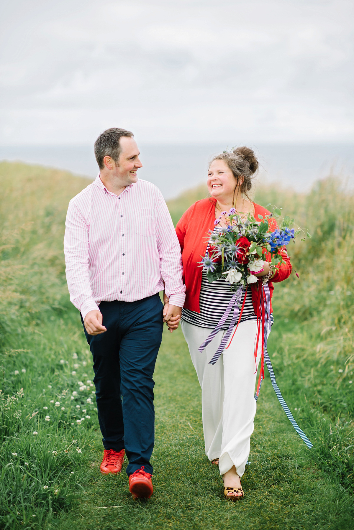 A Bride in Trousers for her Clifftop Wedding in Scotland