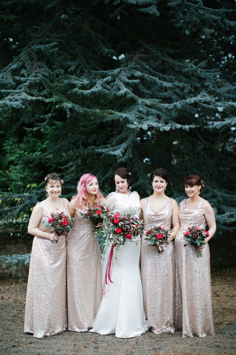 An Art Deco Glamour Inspired Winter Wedding with Bridesmaids in Sequins