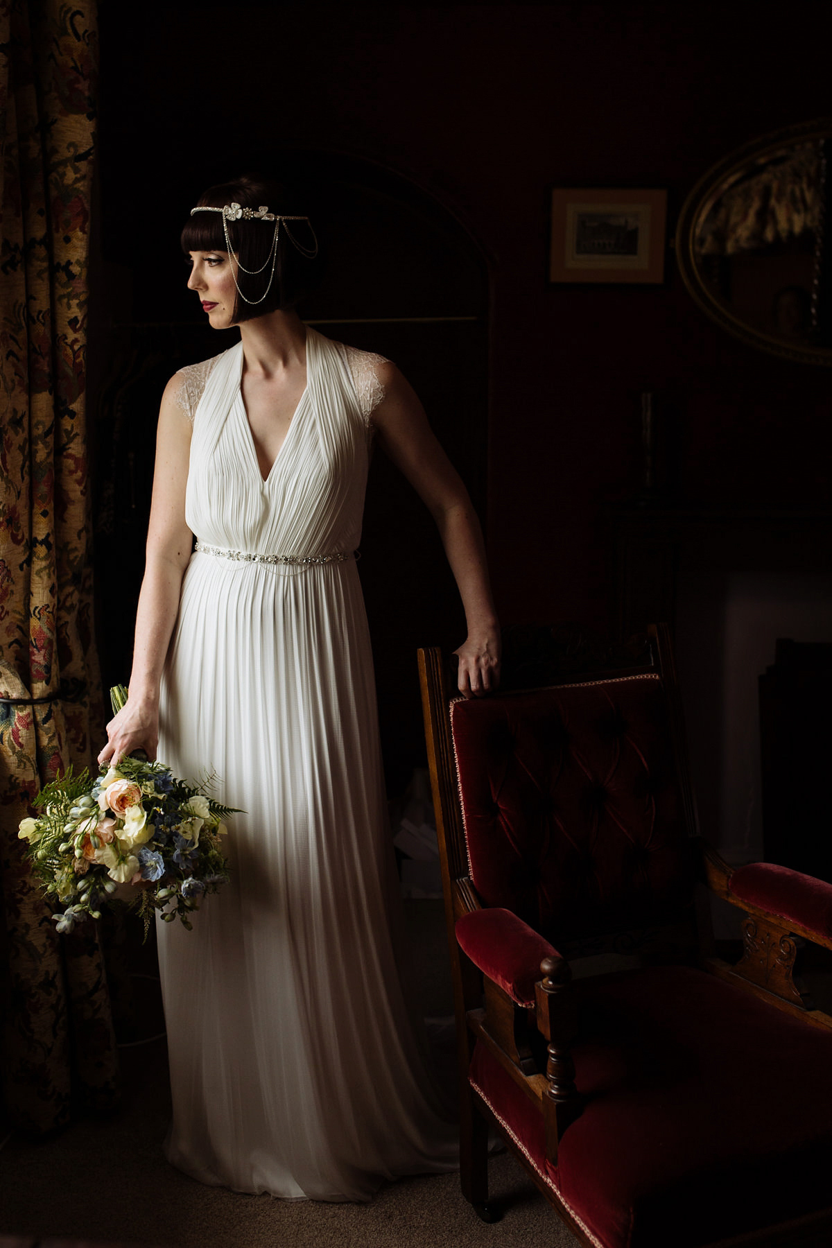 A 1920's Inspired Bride and Maids in Blue for a Classy and Elegant Spring Wedding