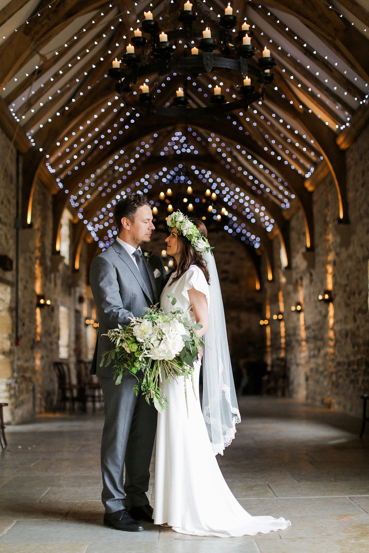 A David Fielden Dress and White Flower Bouquet for an Elegant Barn Wedding
