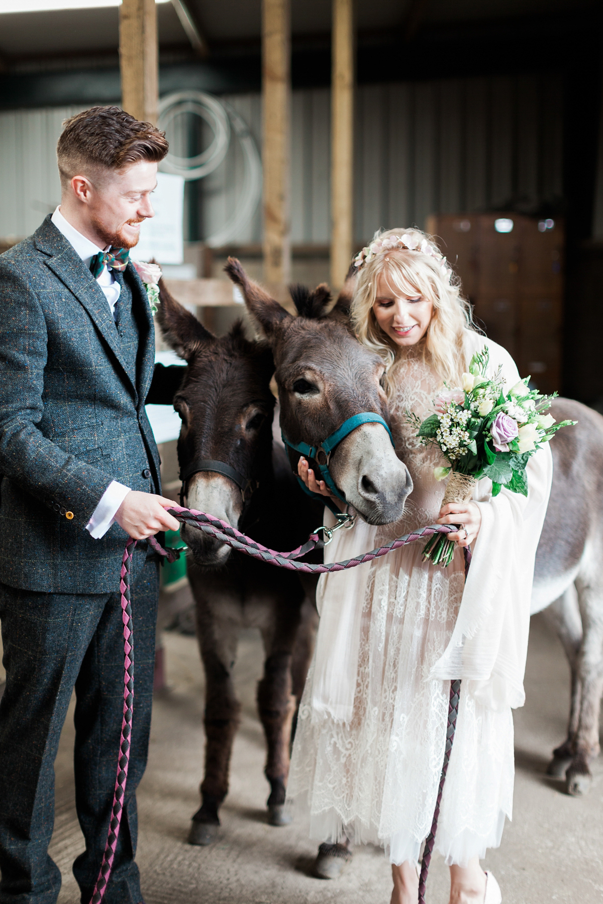 Rembo Styling Drop Waist Lace for a Rustic and Rural Farm Wedding