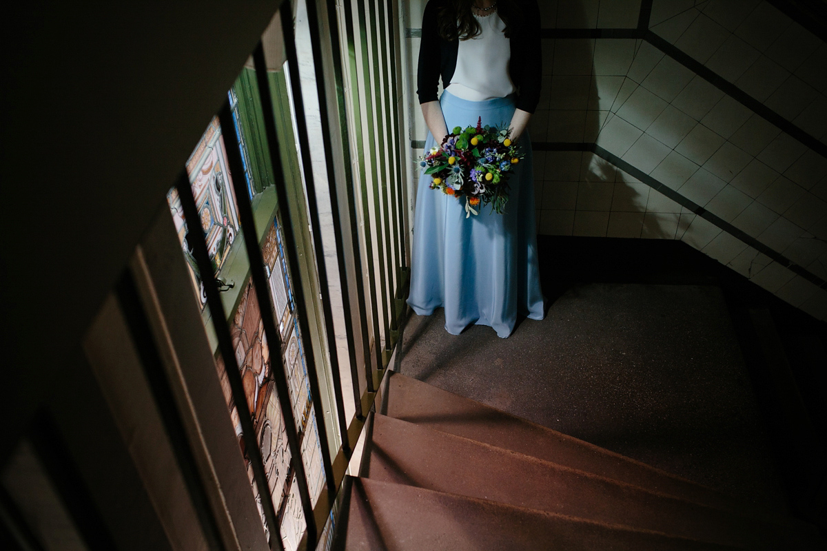 A Bride In a Blue Skirt For A Laid Back, Modern Wedding Planned in Six Weeks (Weddings )