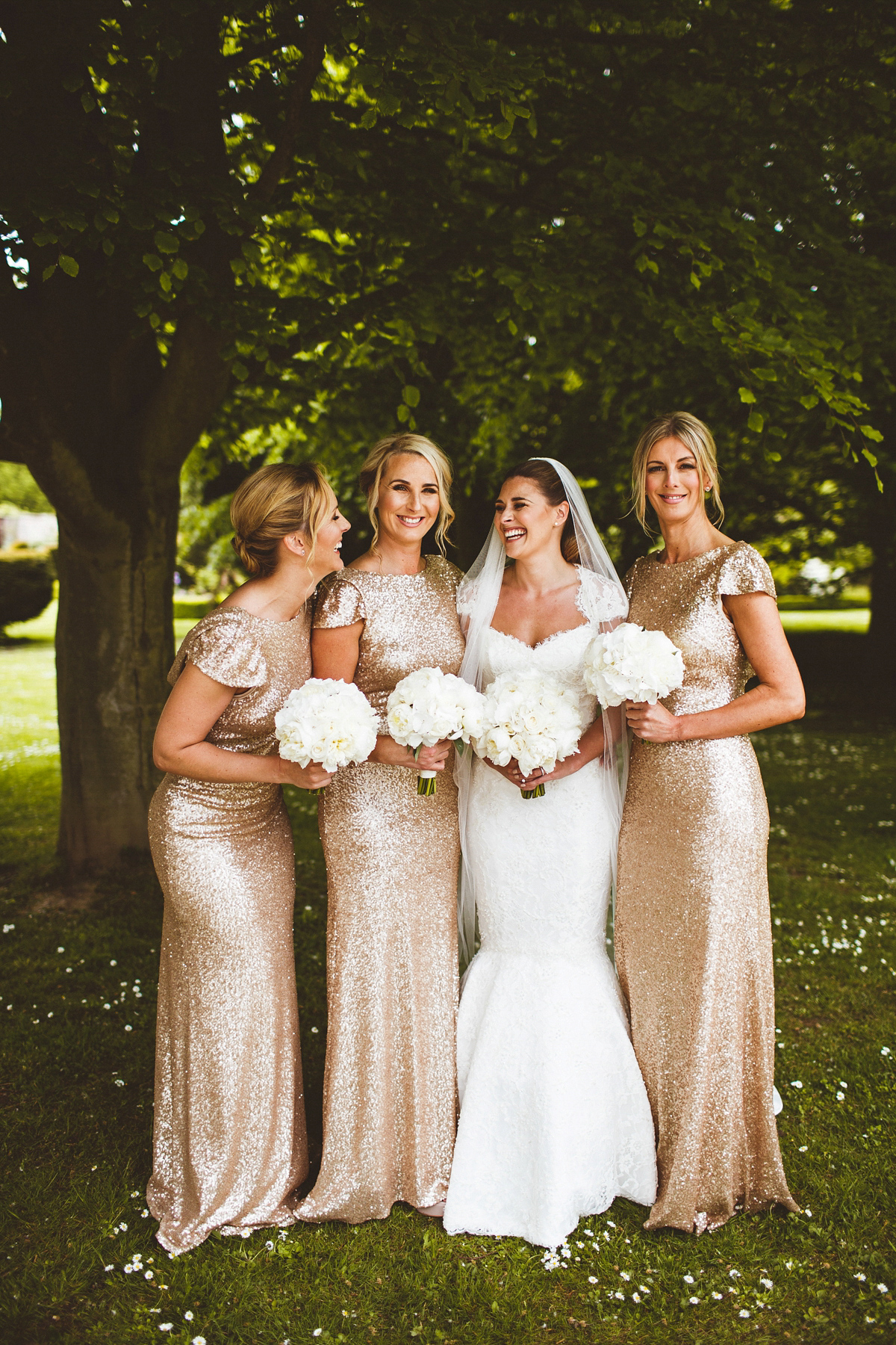 Bridesmaids in Sequin Gold Gowns and a Classically Elegant Caroline Castigliano Bride