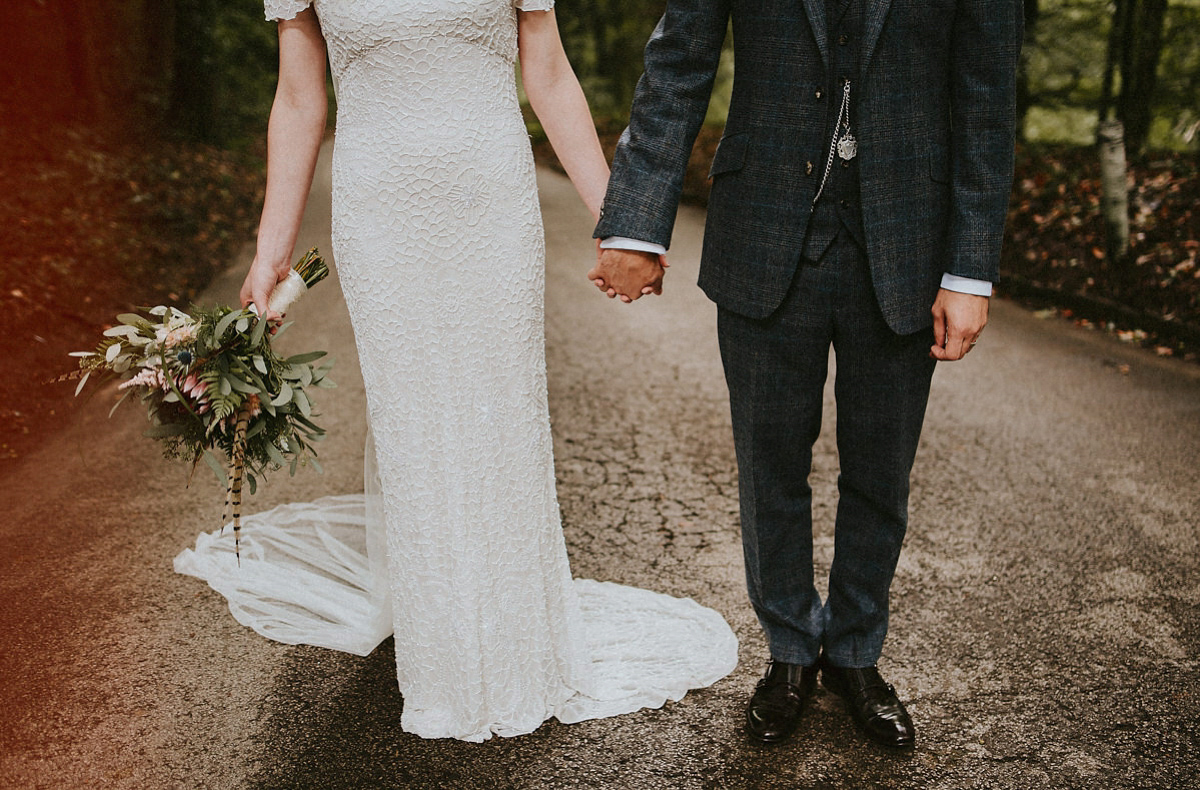 A Beaded Eliza Jane Howell Gown For A Vintage and Botanical Inspired Wedding (Weddings )