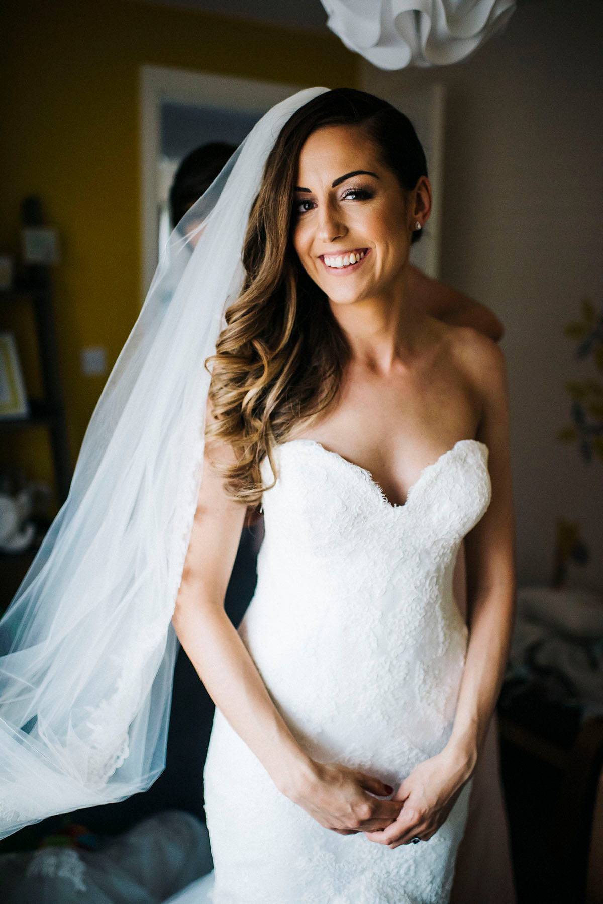 Enzoani Elegance and a Chapel Length Veil for a Romantic Country Manor Wedding (Films Weddings )