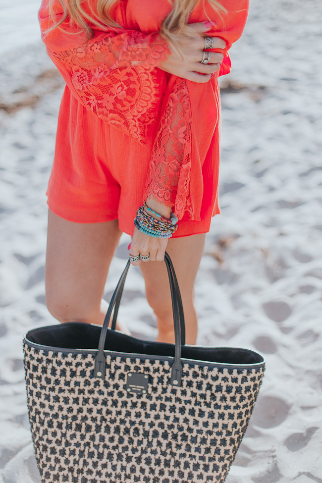 Guess Bell Sleeve Coral Romper-13