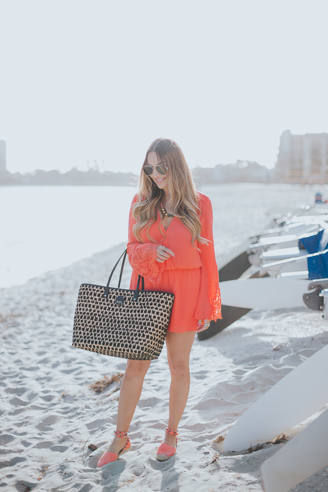 Guess Bell Sleeve Coral Romper-3
