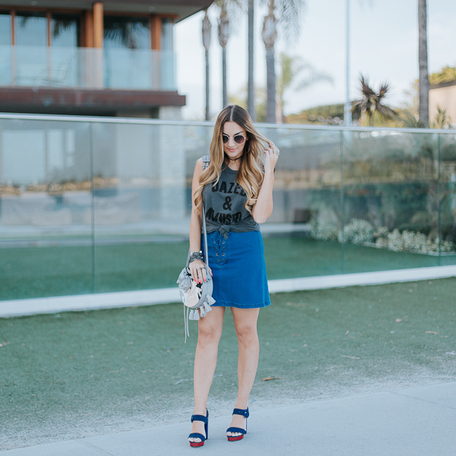 Guess Lace Up Denim Skirt-2