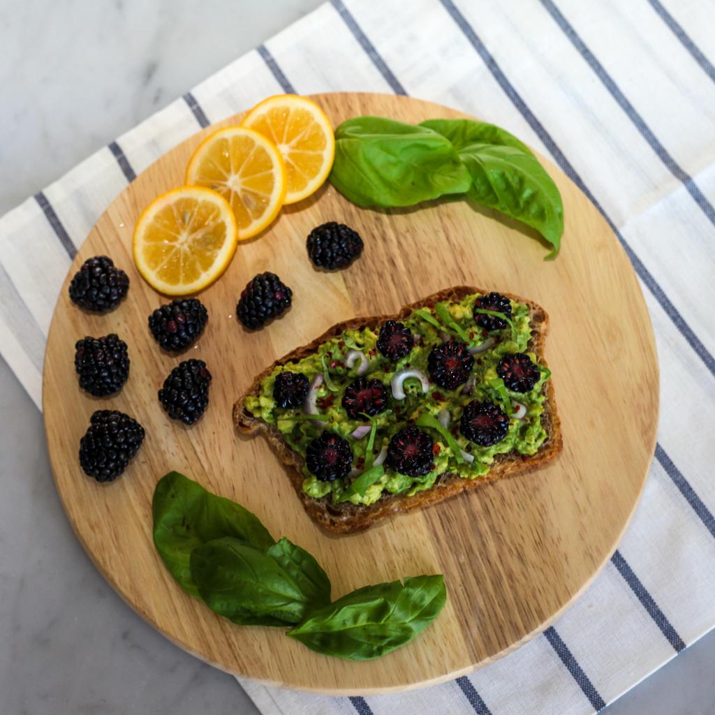 blackberry avocado basil toast