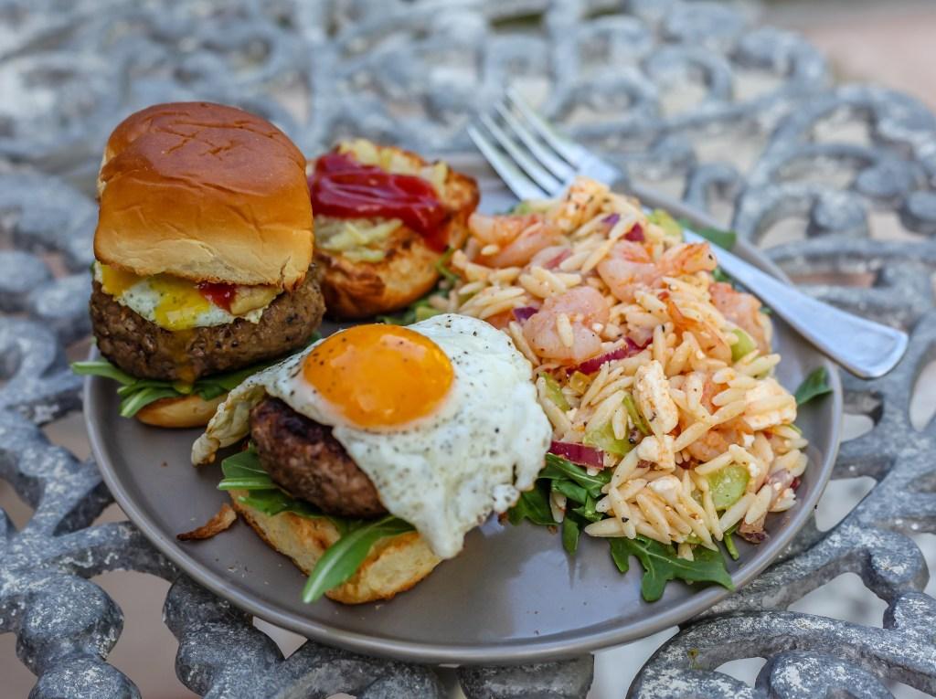 shrimp orzo salad lamb burgers