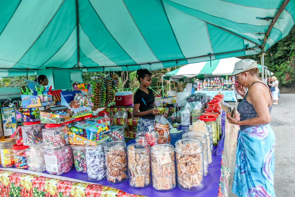 lady snacks candy tent