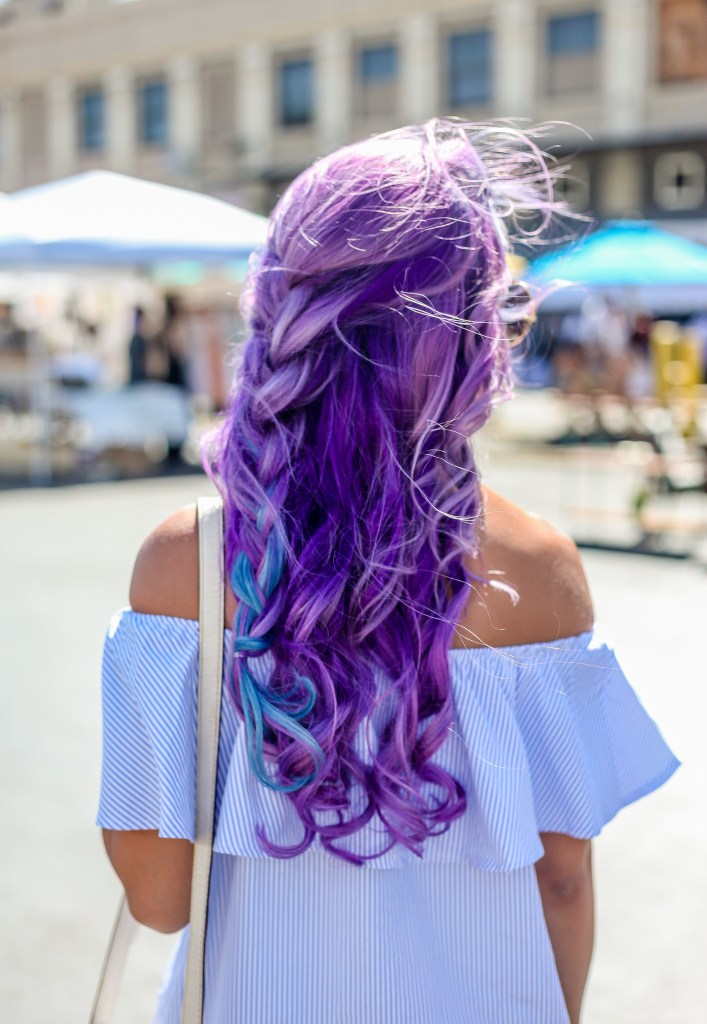 purple hair braid