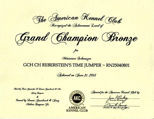 Miniature Schnauzer GCH CH Reberstein's Time Jumper (TJ) GCH Certificate