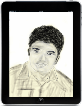Self potrait of Sumit Vishwakarma created on an iPad.