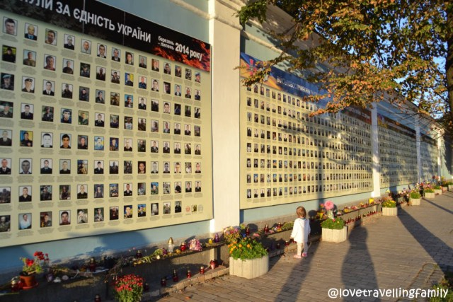 At St. Michael's Golden- Domed Monastery a wall with pictures of those who gave their life fighting for free Ukraine