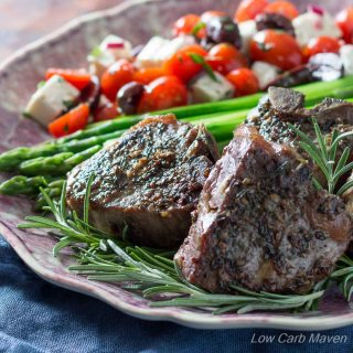Flavorful lamb chops with a delicious mustard cream pan sauce cook in 1 pan in 30 minutes.  Low Carb, Gluten-free, Primal, Keto, THM