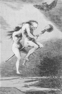 Two witches on a broom