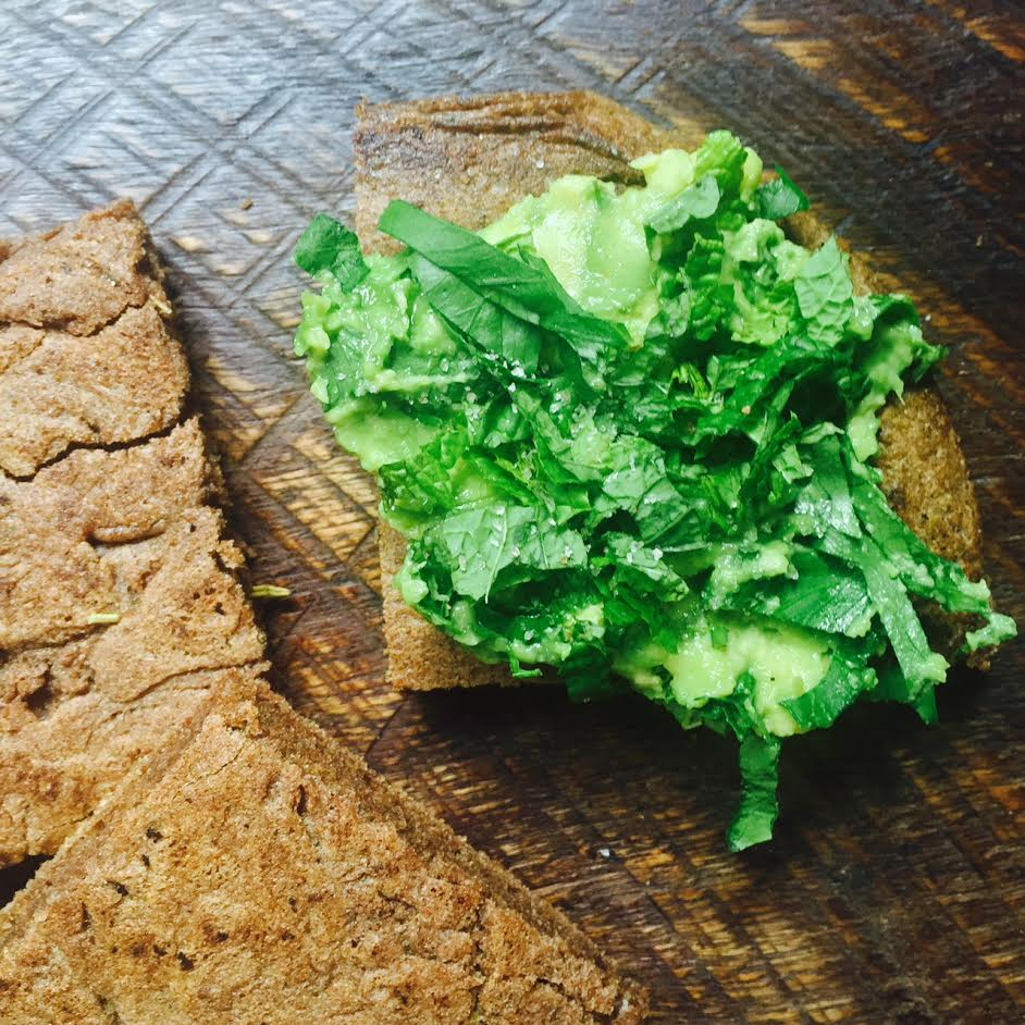 Teff with smashed avocado and herbs