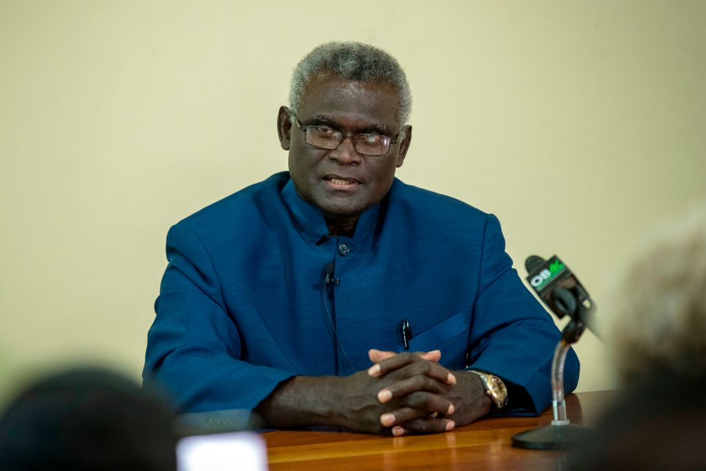 Solomon Islands Prime Minister Manasseh Sogavare (Robert Taupongi/AFP via Getty Images)