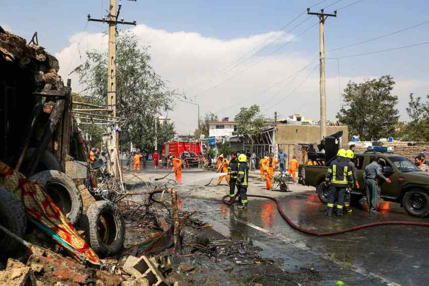 The site of a bomb explosion in Kabul which targeted the first vice president and killed 10 people, 9 September 2020 (AFP via Getty Images)