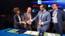 Magali Vaissiere, ESA's director of telecommunications and integrated applications (far left) with Thales Alenia Space CEO Jean Loic Galle; Newtec CEO Thomas Van den Driessche; and Avanti Communications CEO David Williams at the Paris Air and Space Show on June 21. Credit: ESA