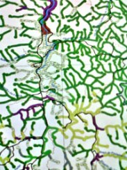 Detail of a map, with the current use of the riverbank, done by the geoprocessing laboratory of the Instituto Socioambiental in 2011