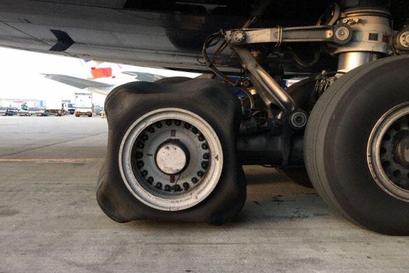 British Airways Airbus A380 G-XLEB flat tyre
