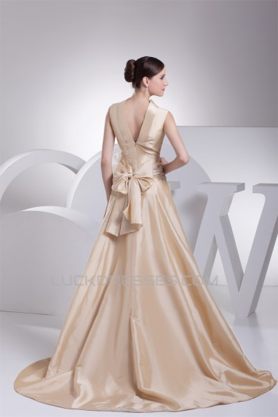 A-Line High-Neck Bows Wedding Dresses 2030173