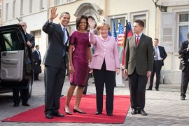 Presidente e First Lady Obama con Angela Merkel e Joachim Sauer attuale marito