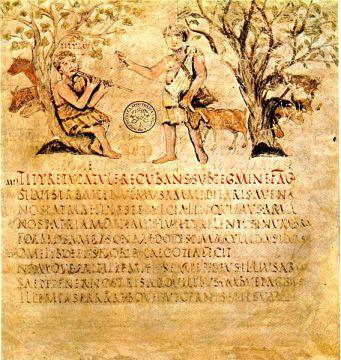 Unica miniatura del pirmo artista della prima egloga della Bucoliche