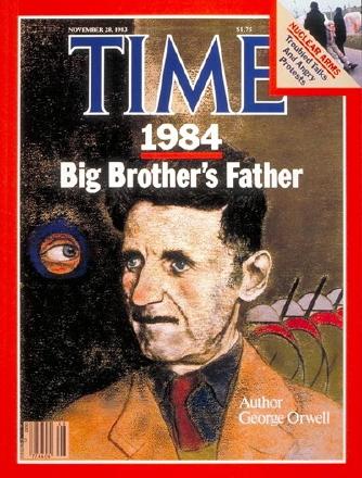 """George Orwell, autore del romanzo '1984' in una copertina del """"Time"""" del novembre 1983"""