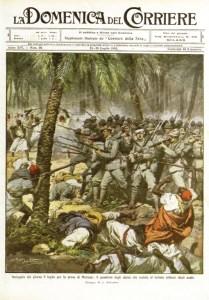 Gli alpini nel deserto respingono un attacco arabo. Dalla Domenica del Corriere del luglio 1912.