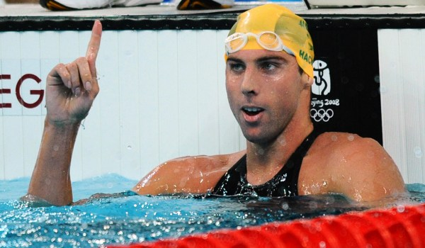 Australia's Grant Hackett finishes the m
