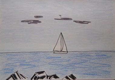 Barca a vela al largo di Barcelona