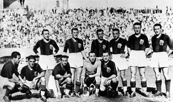 La squadra del Bologna vincitrice dello scudetto 1936-1937