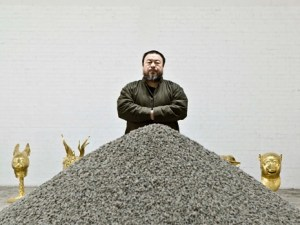 Artist and designer Ai Weiwei in his studio with his artwork