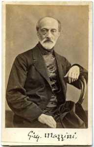 Giuseppe Mazzini: fotografia con autografo