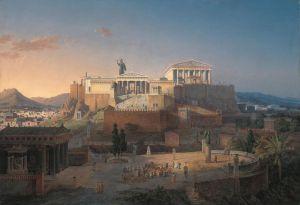 Idealistica ricostruzione dell'Acropoli di Atene (Leo von Klenze, 1846, Neue Pinakothek, Monaco di Baviera).