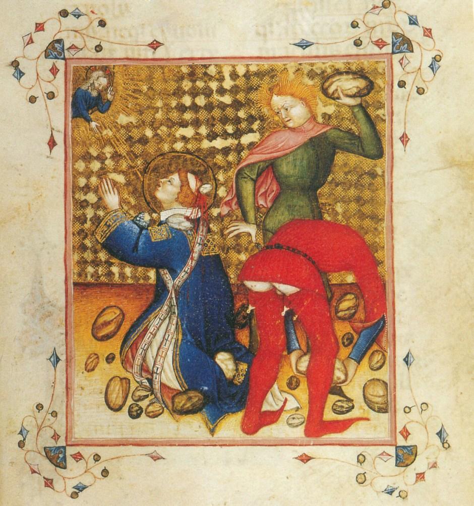 Martirio di Santo Stefano. Il carnefice piegato indossa calze solate.