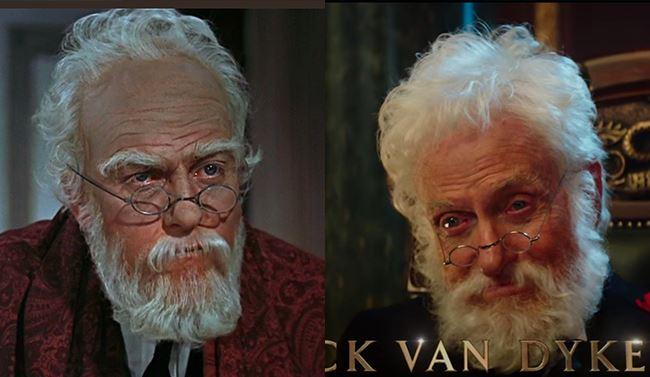 Per sembrare vecchio Dick Van Dyke nel 1964  (a sinistra) aveva bisogno del trucco, oggi (a destra) no