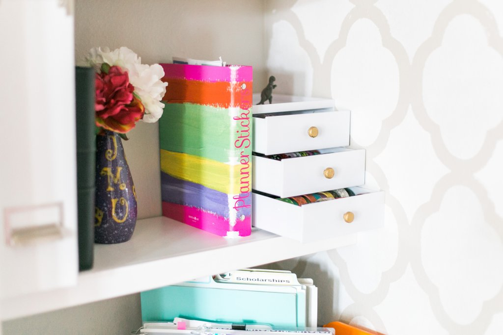 Planner Space Cloffice with Planner sticker storage and organized washi tape Craft Room Tour