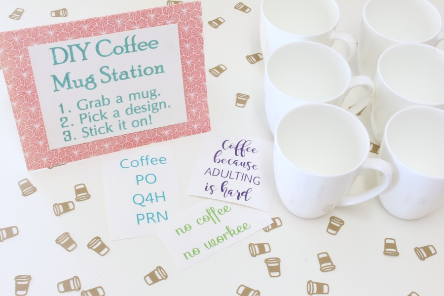 DIY Coffee Mug Decal Station