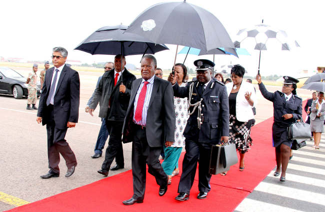 President Sata on arrival in South Africa for the AFCON Openning ceremony at Waterkloof-Picture by Presidential Photographer  THOMAS NSAMA