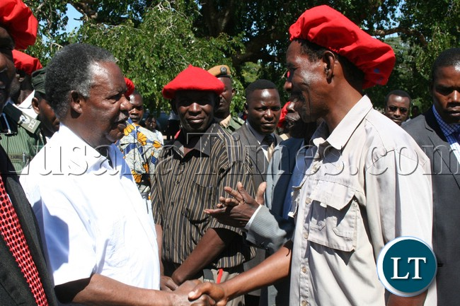 President Michael Sata being welcomed by Baroste Royal Establishment BRE Induna's when he arrived at Limulunga Palace