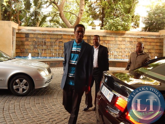 His Excellency Mr. Edgar C. Lungu soon after leaving hospital this afternoon