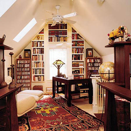 Small Home Library Designs  Bookshelves for Decorating Small Spaces attic small spaces are great for home library design with built in book  shelves