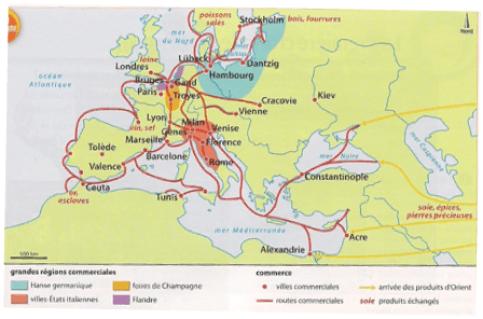 Voici ci dessus la carte retraçant les itinéraires clefs de l'empire de Jacques Coeur.