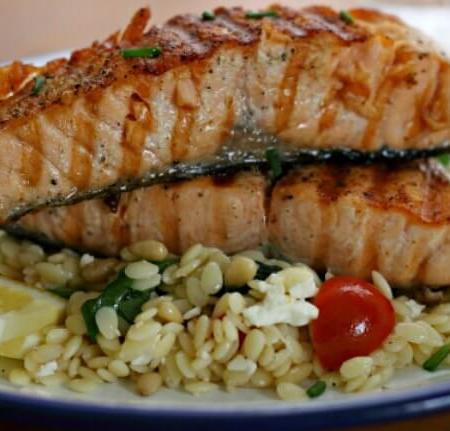 Grilled Salmon with Orzo Salad ~ I Heart Cooking Clubs ~ Lydia's Flexitarian Kitchen