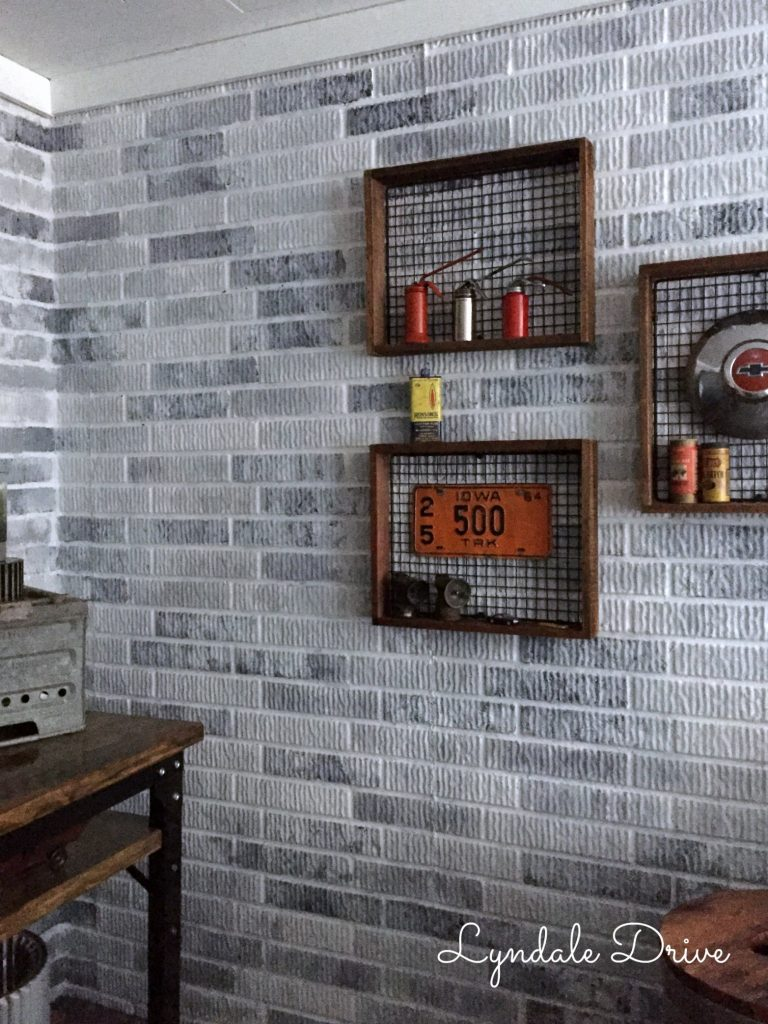 Enthralling How I Painted Faux Brick Walls Stick Mancave Faux Brick Wall Stickers Faux Brick Wall Peel houzz 01 Faux Brick Wall