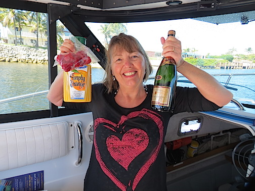 Karen makes mimosas for the mellow leg of the cruise.